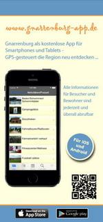 Flyer zur Gnarrenburg-App für iPhone, iPad und Android (www.gnarrenburg-app.de) - GPS-gesteuert Gnarrenburg neu entdecken ...