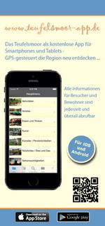 Flyer zur Teufelsmoor-App für iPhone, iPad und Android (www.teufelsmoor-app.de) - GPS-gesteuert das Teufelsmoor neu entdecken ...